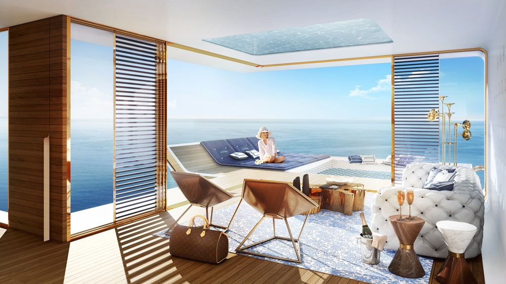 The Floating Seahorse房間內的全景式海景
