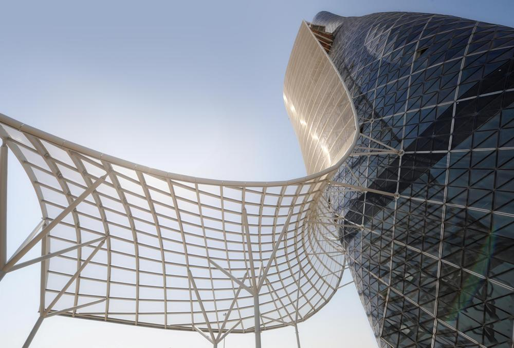前衛外型/未來感/RMJM/Hyatt Capital Gate Abu Dhabi/阿布達比/阿拉