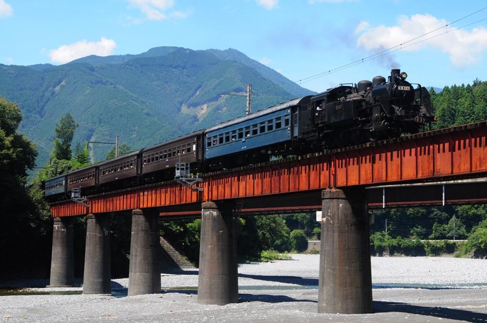紅色鐵橋/大井川鐵道SL蒸氣機關車/日本