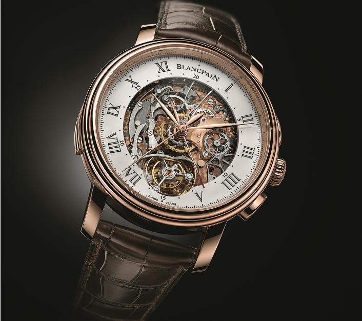 BLANCPAIN/鐘錶/紅金錶殼/短吻鱷魚皮錶帶/限量腕錶