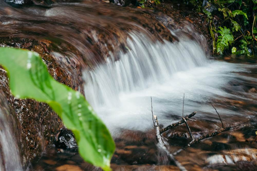 宜蘭抹茶山因連續幾日的大雨形成的小瀑布