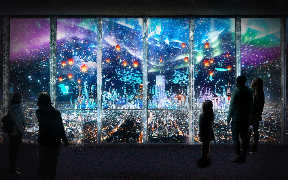 Crystal World/阿倍野HARUKAS展望台/光雕投影/大阪夜景/極光/冰晶/鑽石星塵