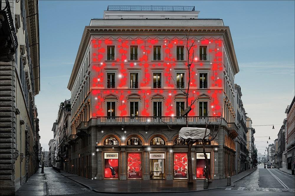 FENDI/Baguette包/2019 FENDI冬季新品/聖誕櫥窗設計/羅馬