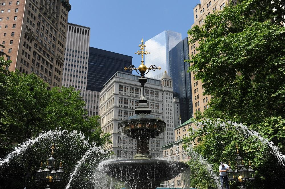 曼哈頓下城/市政廳與公園/噴泉/美國