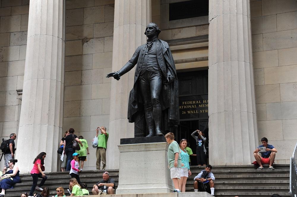 曼哈頓下城/聯邦國家紀念堂/華盛頓銅像/美國