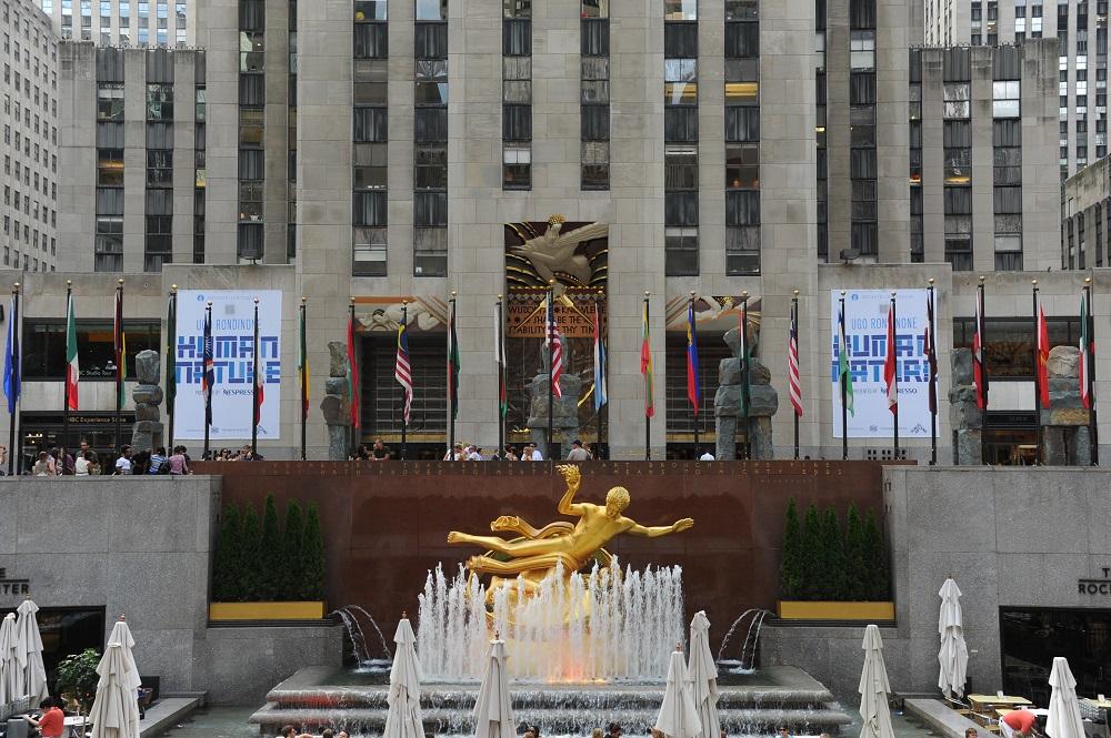 紐約/洛克斐勒中心/下層廣場/溜冰場/普羅米修斯像