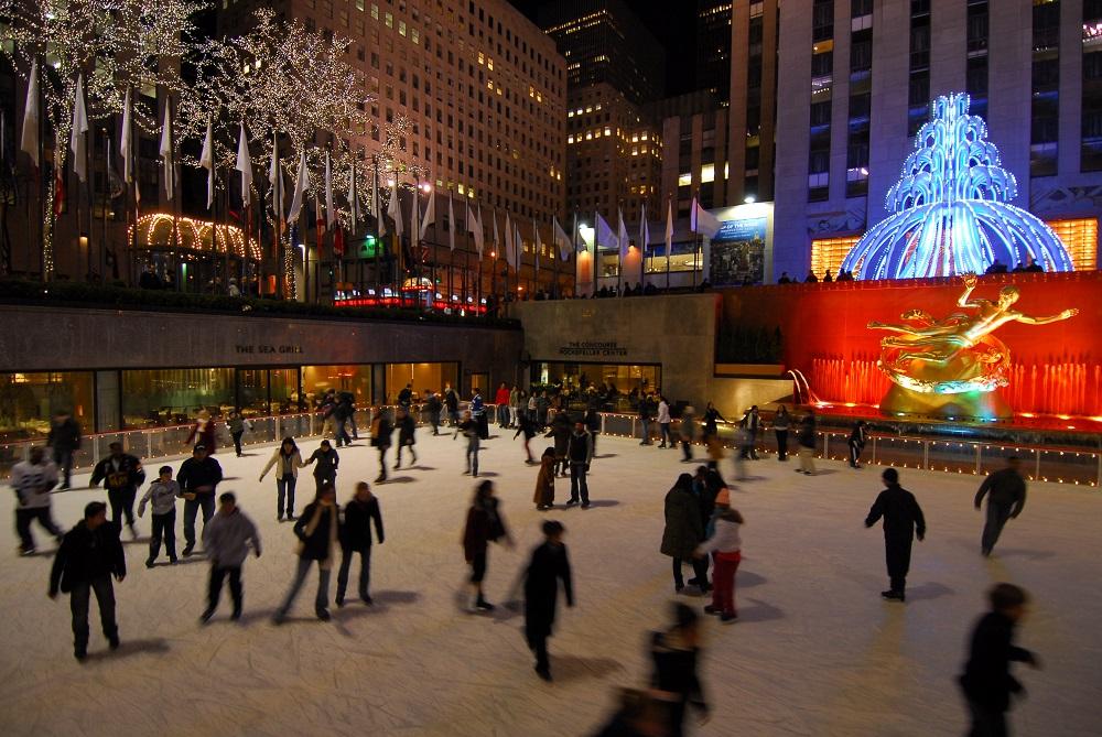 美國/紐約/曼哈頓/洛克斐勒中心/下層廣場/溜冰場