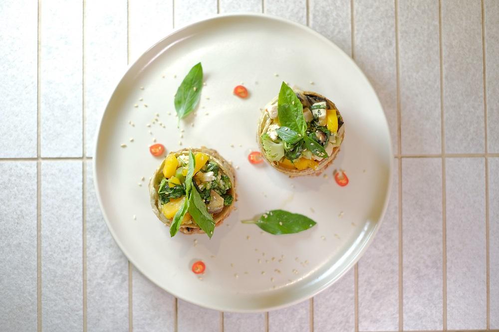 台北微風美食/人氣蔬食餐廳/本食/三杯飯糰/法式擺盤