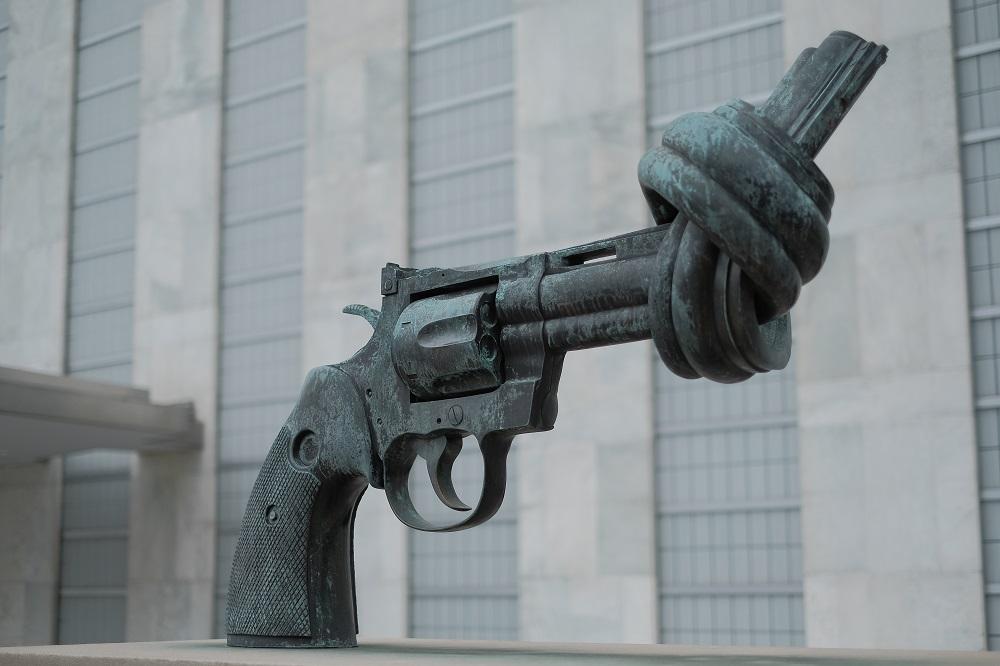紐約/曼哈頓中城/聯合國總部/聯合國大樓/和平之槍