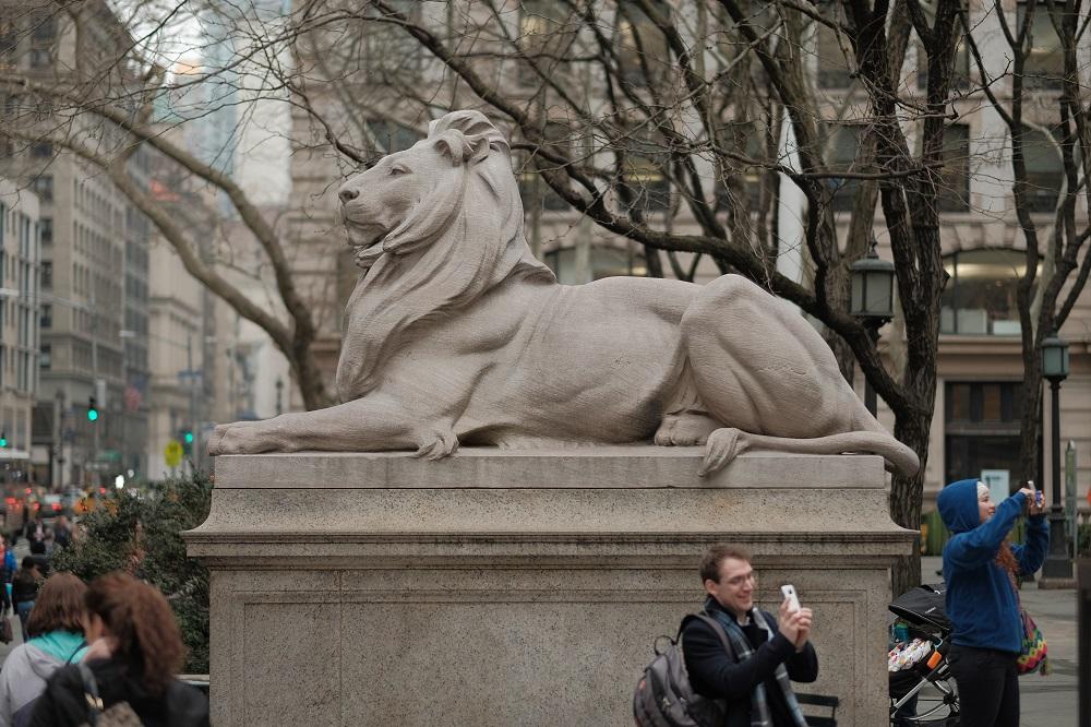 紐約/曼哈頓/紐約公共圖書館/絕美圖書館/獅子雕像