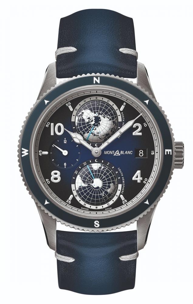 萬寶龍1858系列Geosphere世界時間腕錶藍色款/手錶