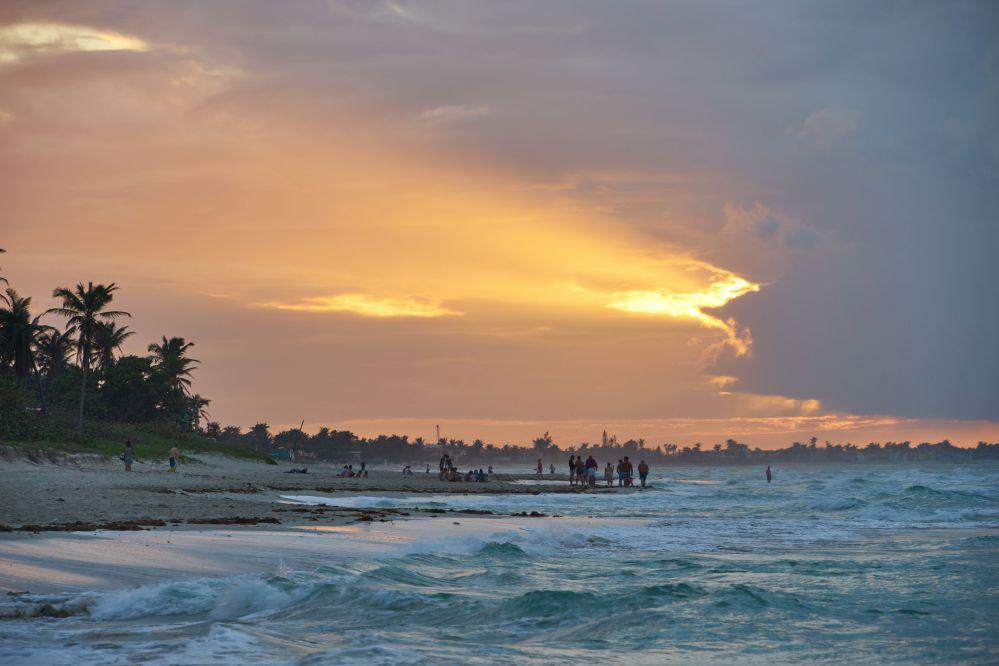 加勒比海的夕陽景色