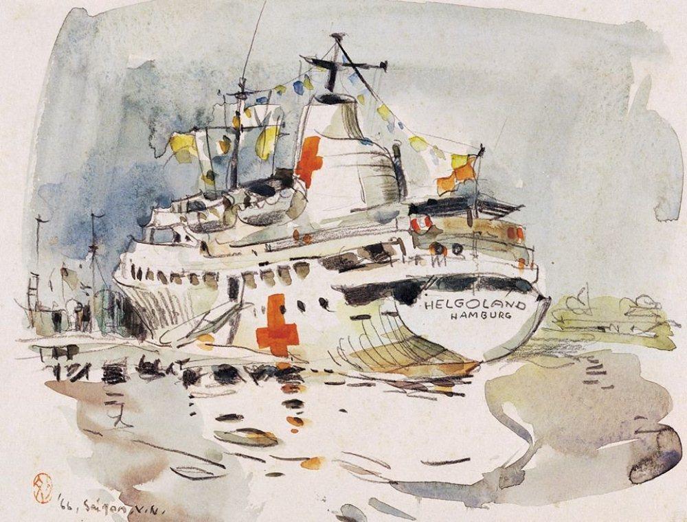 停泊在湄公河上的醫務船/秘密南方特展/藝術/北美館/台灣