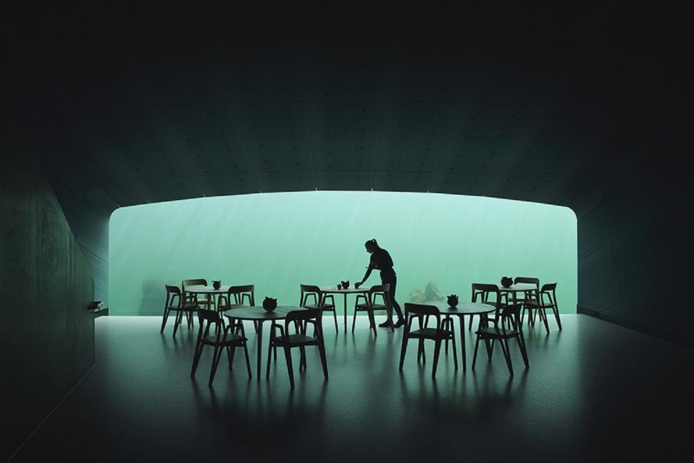 內部/Under/水下餐廳/里訥斯訥斯自治區/挪威/歐洲