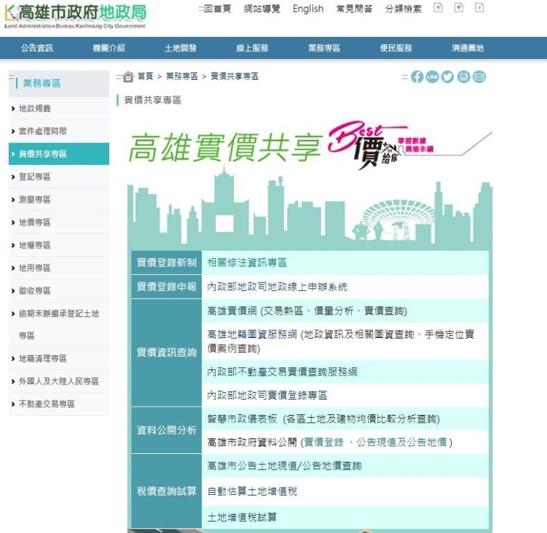 實價共享專區/高雄市政府地政局網站/高雄/台灣
