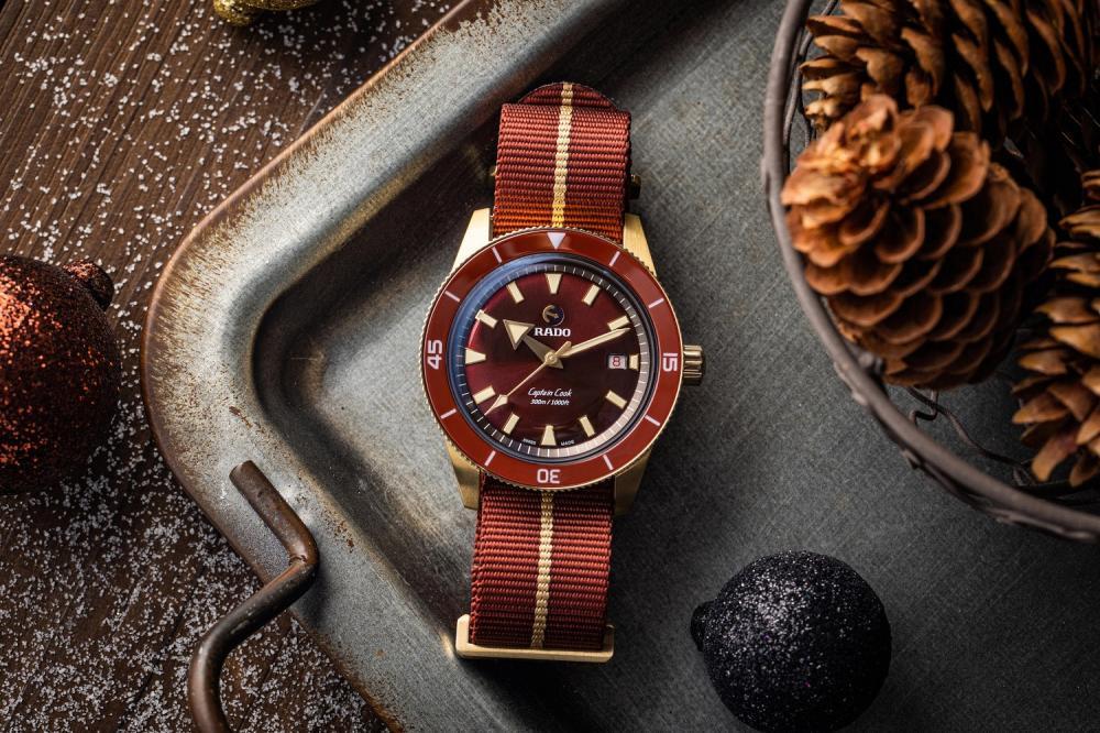 鋼鐵紅/Captain Cook庫克船長300米青銅自動腕錶/Rado瑞士雷達表/台灣