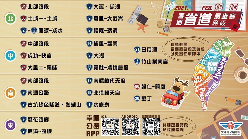 春節疏運圖/公路總局/春節連假/台灣