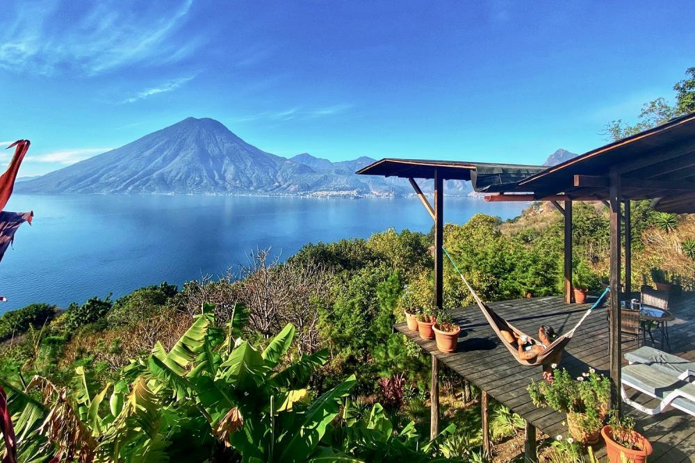 渡假村風景/火山湖畔度假小屋/住宿/聖馬科斯拉拉古納/瓜地馬拉