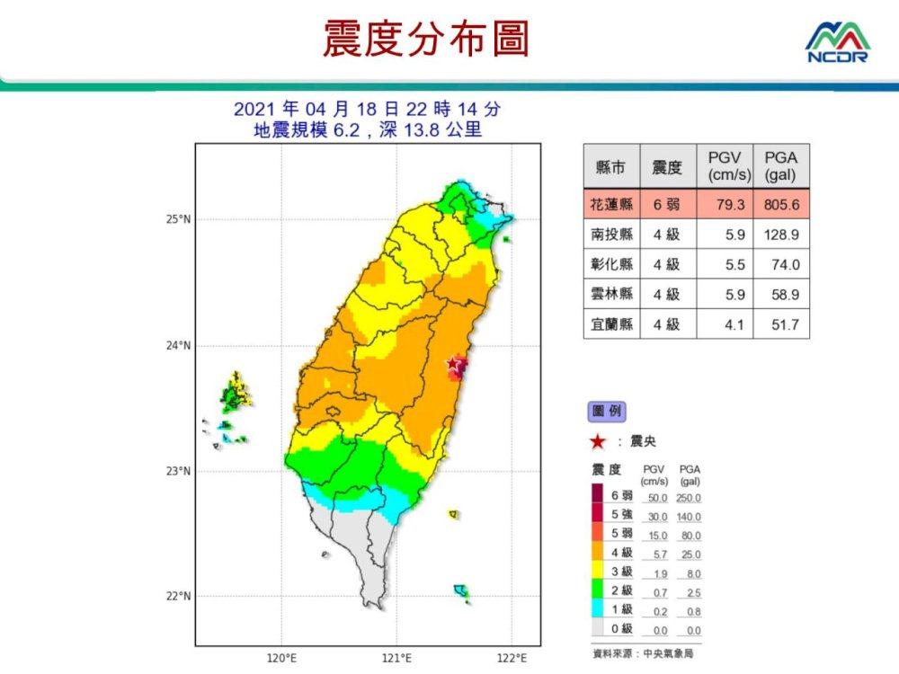 地震圖/國家災害防救科技中心/壽豐/花蓮/台灣