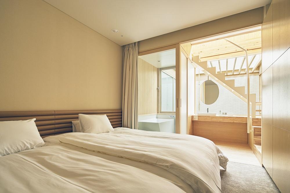 臥室/淺色木質色調/木造旅宿/Shonai Hotel Suiden Terrasse/日本