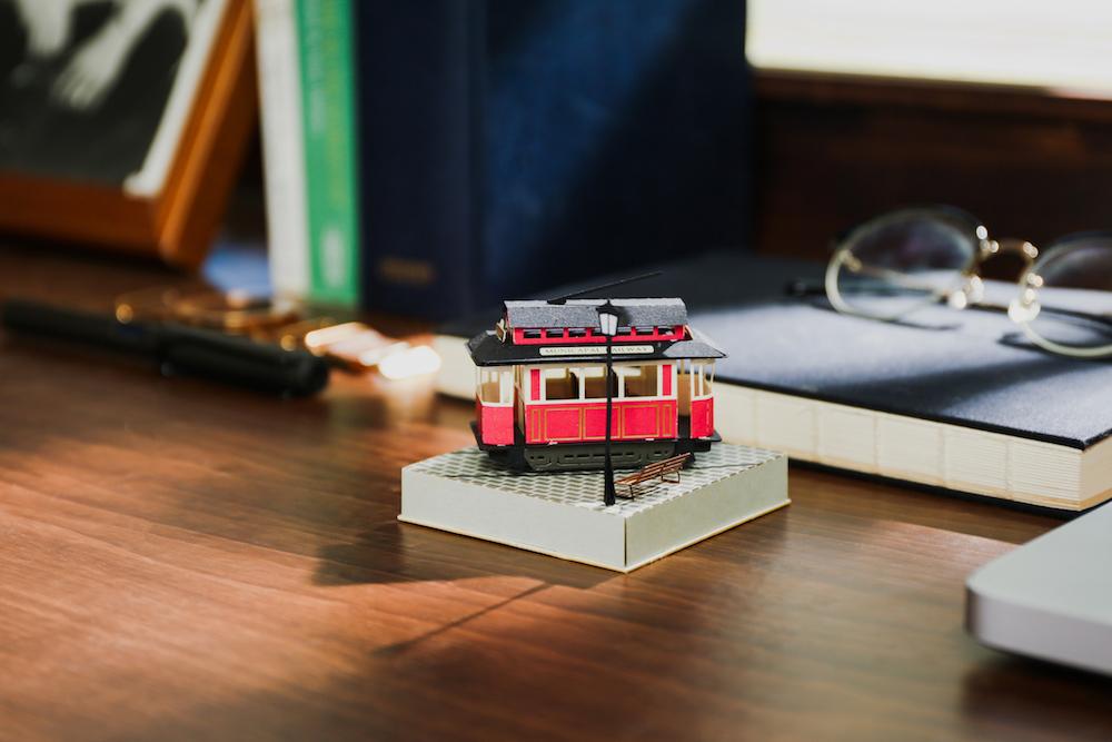 路面電車/復古紙風景/紙模型/知音文創