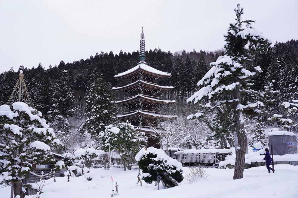 雪景/青龍寺/青森/日本