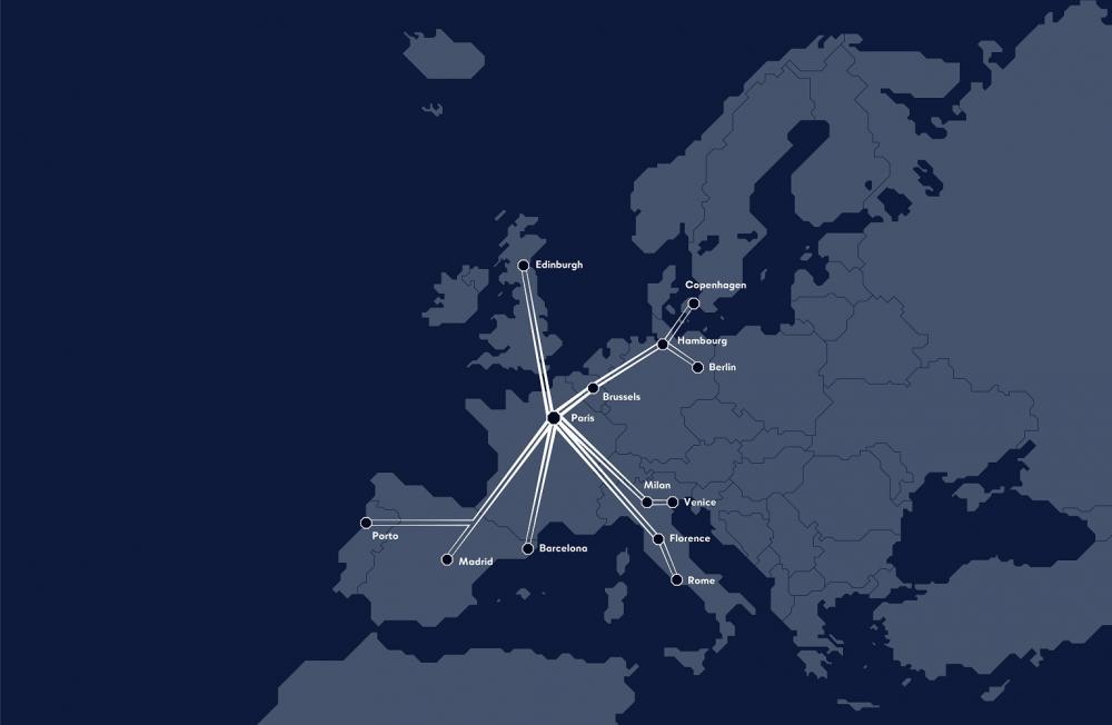 地圖/夜間列車/巴黎/法國
