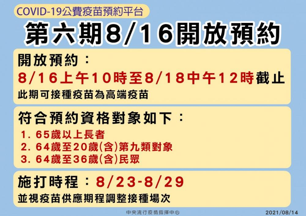 高端疫苗8/16開放預約/中央流行疫情指揮中心/疫情/台灣